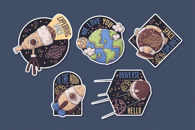 Ручной обращается космические наклейки с тематической коллекцией.