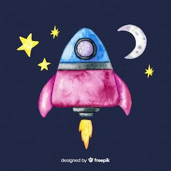 Hand drawn spaceship background