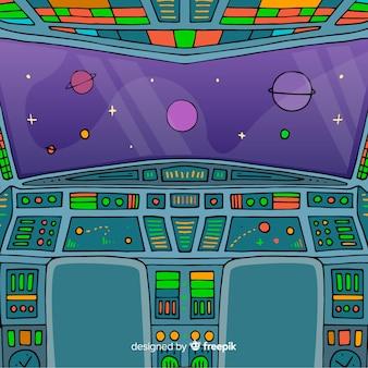 Hand drawn spaceship interior background