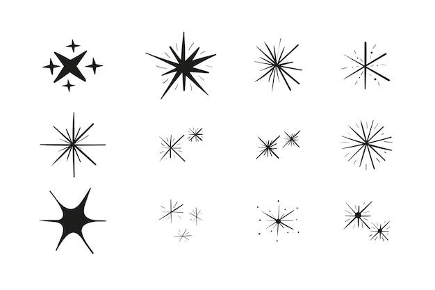 Collezione di stelle scintillanti disegnate a mano