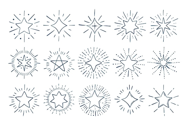 Hand drawn sparkling star collection