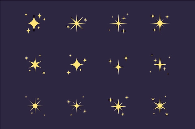 Hand drawn sparkling stars collection