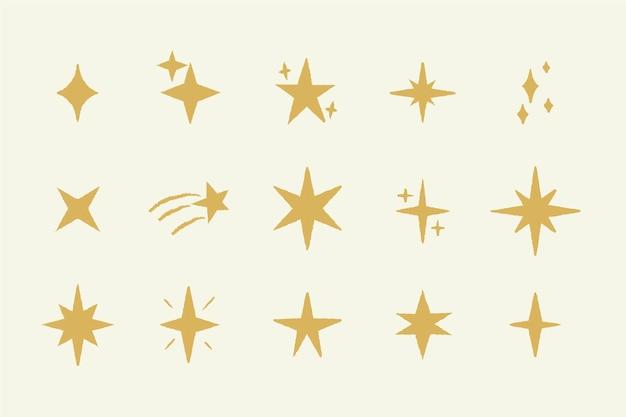 Коллекция рисованной сверкающих звезд