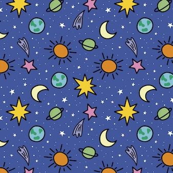 Hand drawn spatial pattern with planets and stars