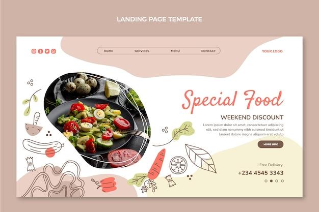 Pagina di destinazione del cibo speciale disegnata a mano