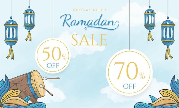 이슬람 장식으로 손으로 그린 특별 제안 라마단 판매 배너
