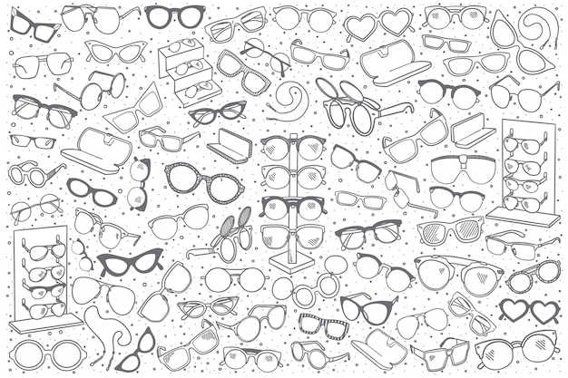 Hand drawn spectacles shop set