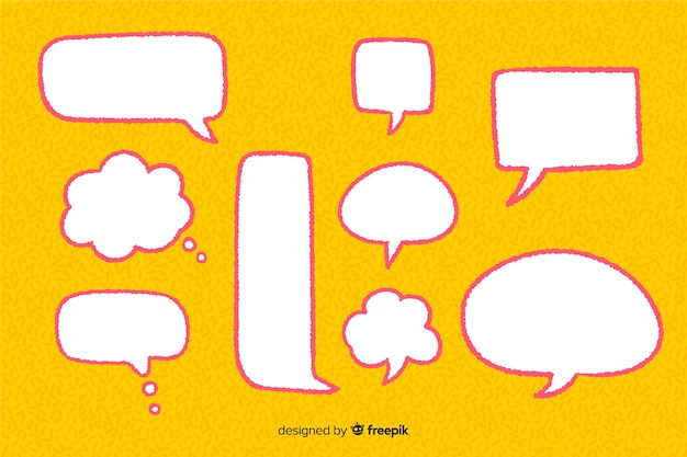 Hand drawn speech balloons set