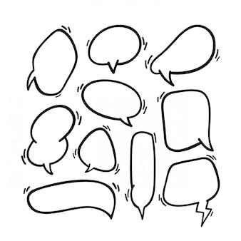 手描きの吹き出し。ライン落書きバルーン要素。プレミアムデザイン