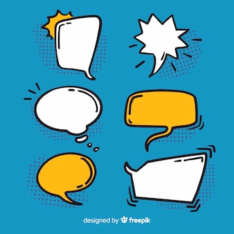Hand-drawn speech bubble outline collection
