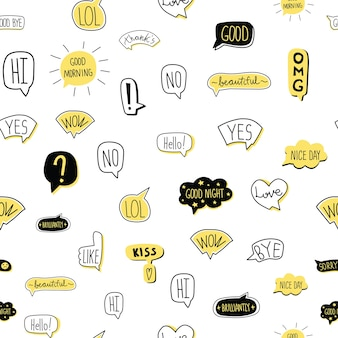 Hand-drawn speech bubble seamless pattern. illustration, isolated on white background.