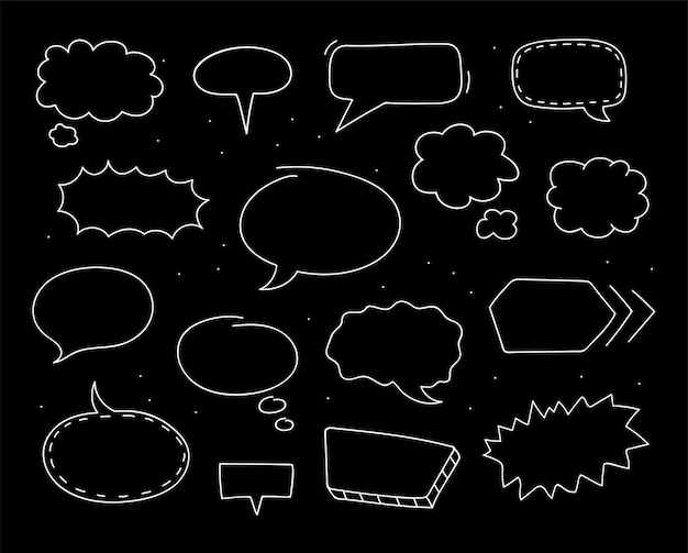 Hand drawn speech bubbles on black background collection. doodle sketch. vector illustration.