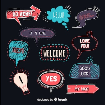 Hand drawn speech bubbles on black background