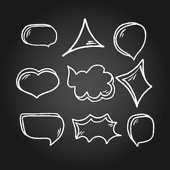 Hand drawn speech bubbles on black chalk board. doodle style vector illustration.
