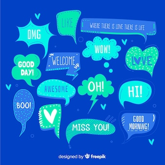 Hand drawn speech bubbles on blue background
