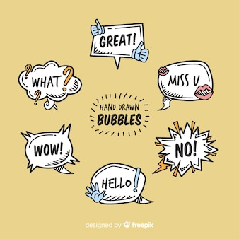 Hand drawn speech bubbles on brown background