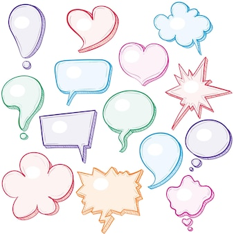 Hand-drawn speech bubbles illustration