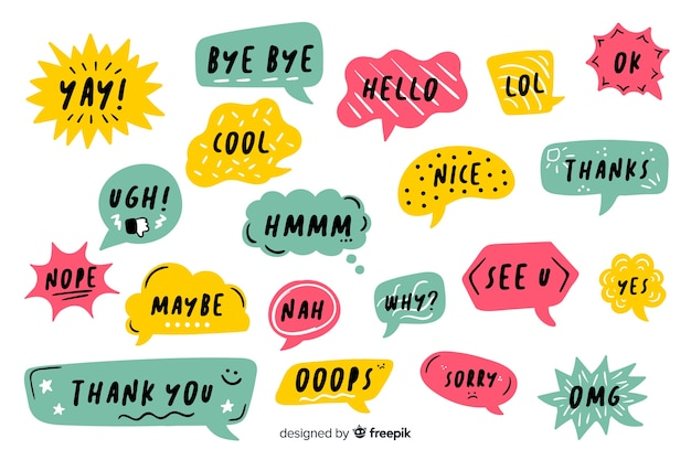 Hand drawn speech bubbles pack