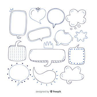 Hand drawn speech bubbles in variety of shapes