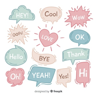 Hand drawn speech bubbles on white background