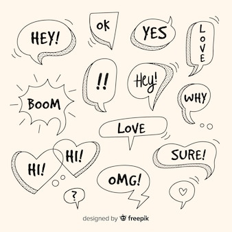 Hand drawn speech bubbles with different expressions