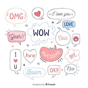 Ручной обращается речи пузыри с разными выражениями