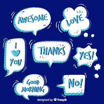 Hand drawn speech bubbles with expressions set