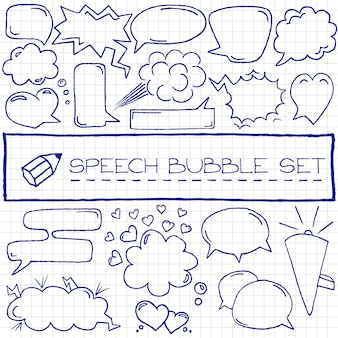 Hand drawn speech bubbles with hearts and clouds, blue pen effec