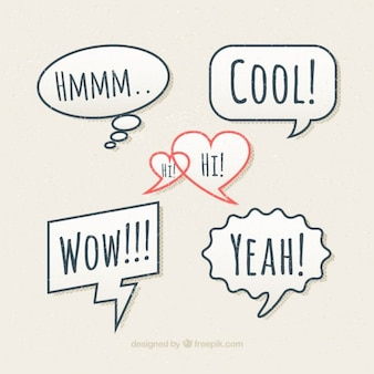 Hand drawn speech bubbles with messages