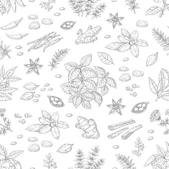 手描きのスパイスパターン。ハーブと野菜のシームレスパターン