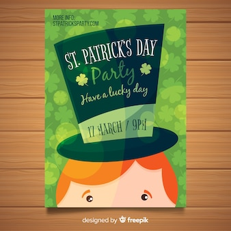 Hand drawn spirit hat st patrick day party poster