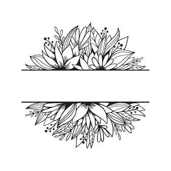 花、葉、枝と手描きの分割モノグラム。