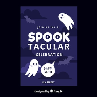 Hand drawn of spooktacular halloween party poster template