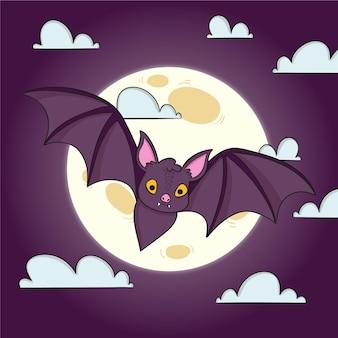 Hand drawn spooky halloween bat