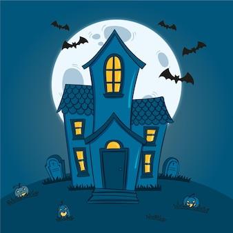 Casa di halloween spettrale disegnata a mano