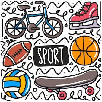 손으로 그린 스포츠 낙서 아이콘 및 디자인 요소 설정