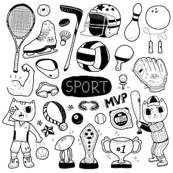 キュートで愛らしい猫のイラストと手描きのスポーツ落書き