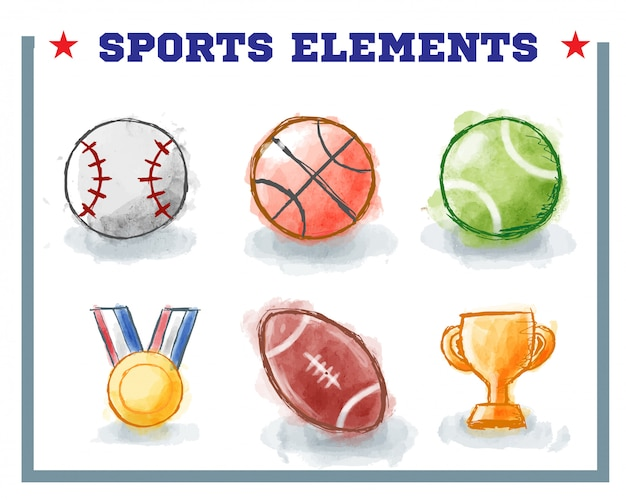 Hand drawn sport elements with watercolor style