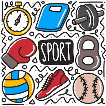 Hand drawn sport equipment doodle set with icons and design elements