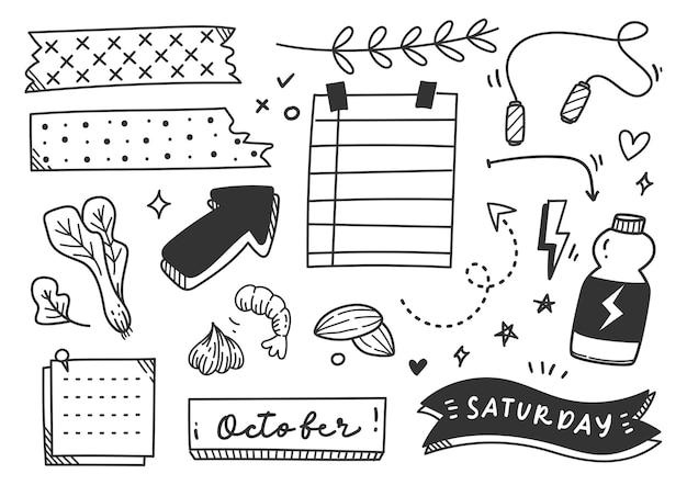 Hand drawn sport or exercise theme journal doodle element