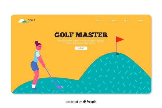 Hand drawn sport landing page template