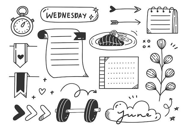 Нарисованный рукой элемент каракули журнала темы спорта или упражнений