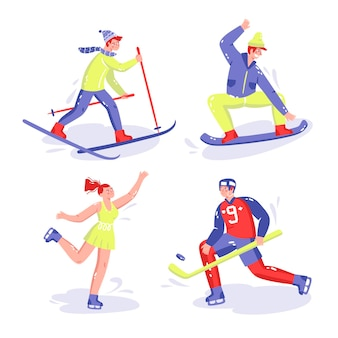 Коллекция рисованной спортивных стикеров
