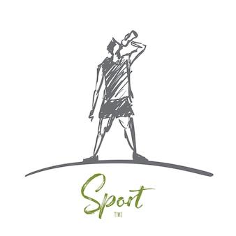Нарисованный рукой эскиз концепции времени спорта