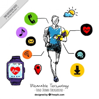 Hand drawn sportive wearable technology background