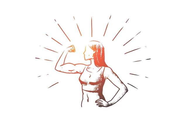 演習の概念スケッチを行う手描きの陽気な女性