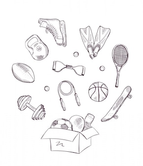 Hand drawn sports equipment jumping out of the box