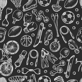 Hand drawn sports equipment pattern