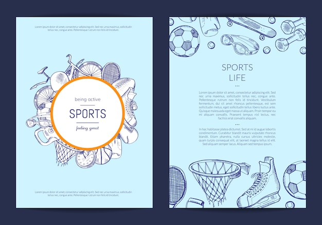 Hand drawn sports equipment store flyer template