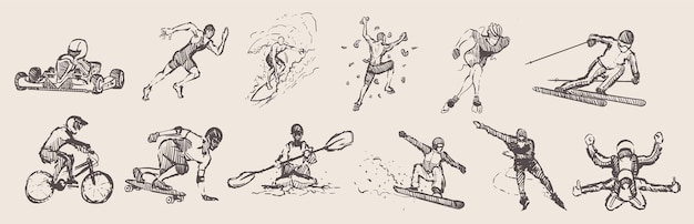 Hand drawn sports. extreme sports set